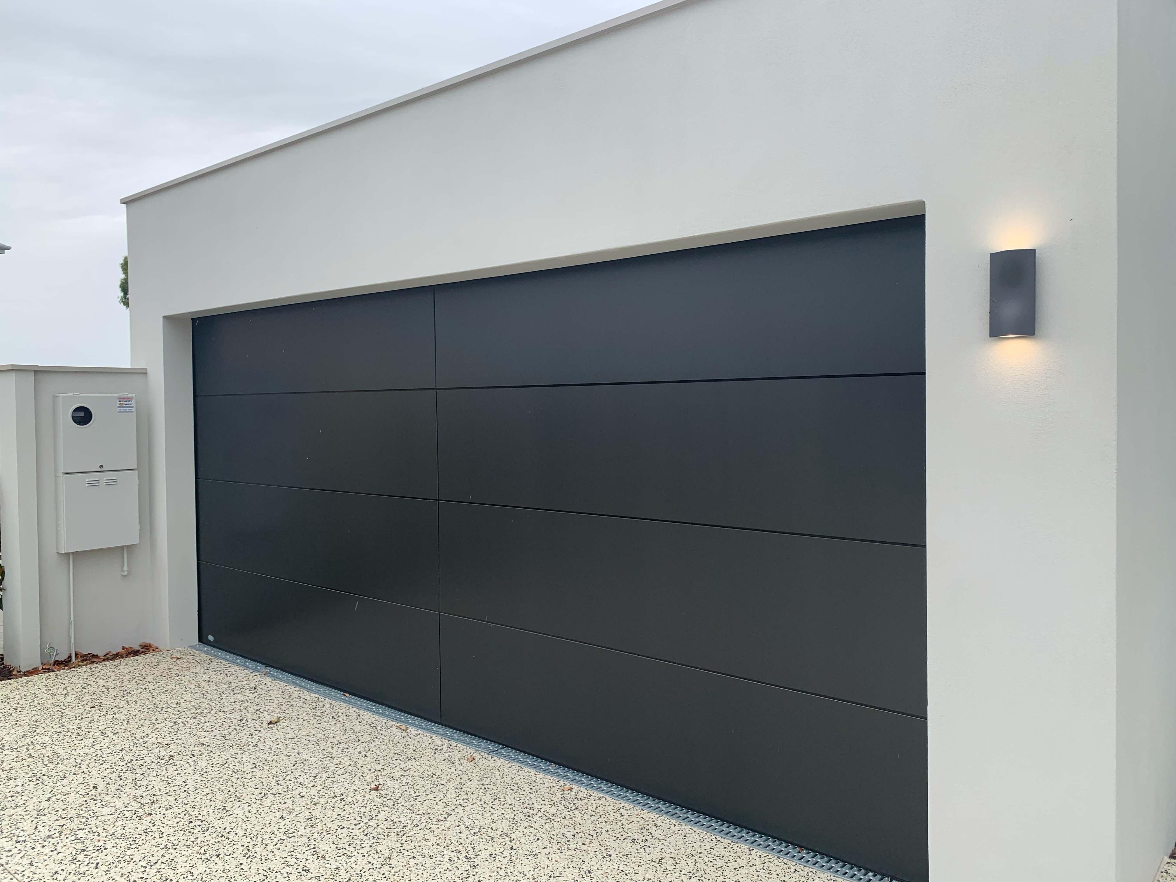 Custom garage door black on white
