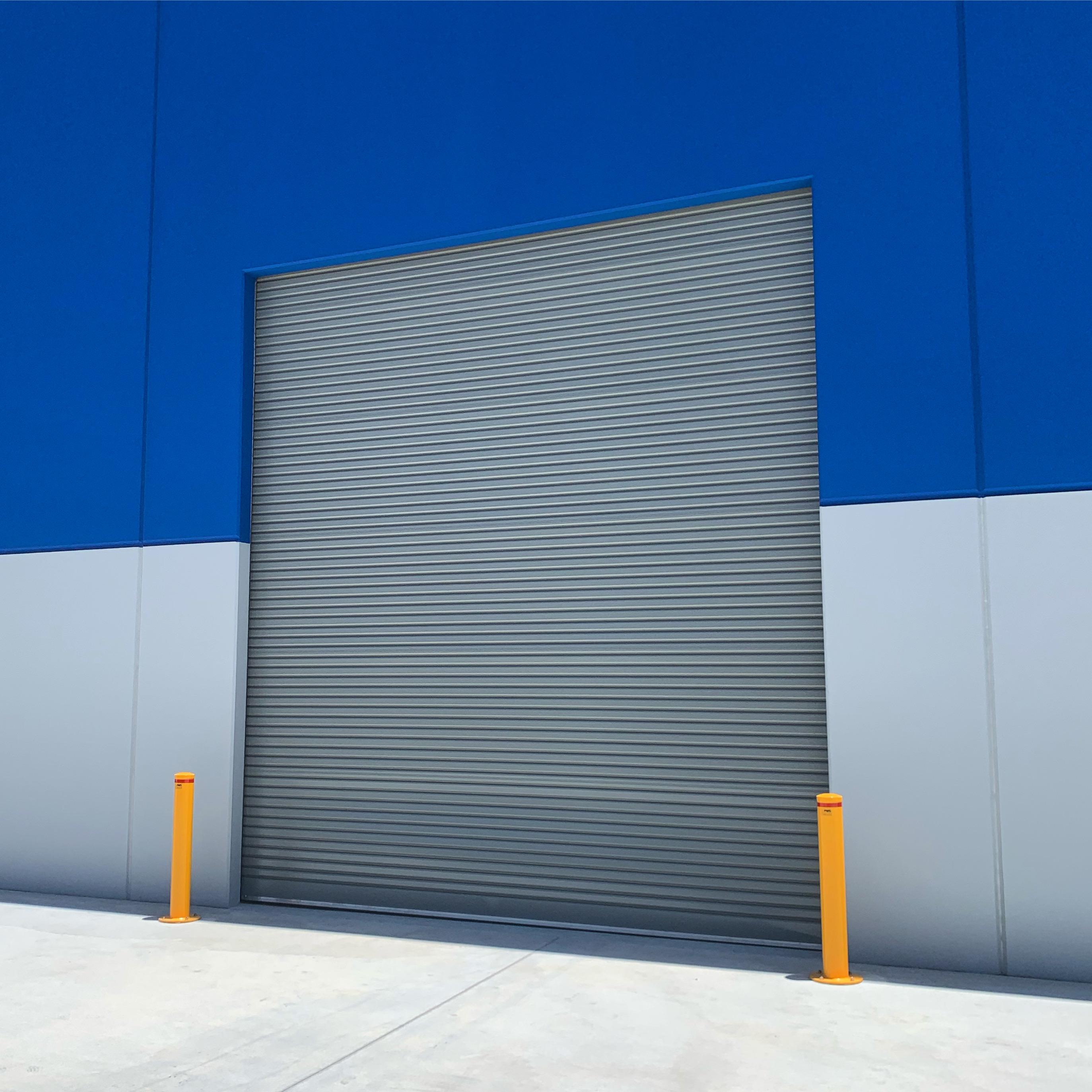 commercial roller door steel blue