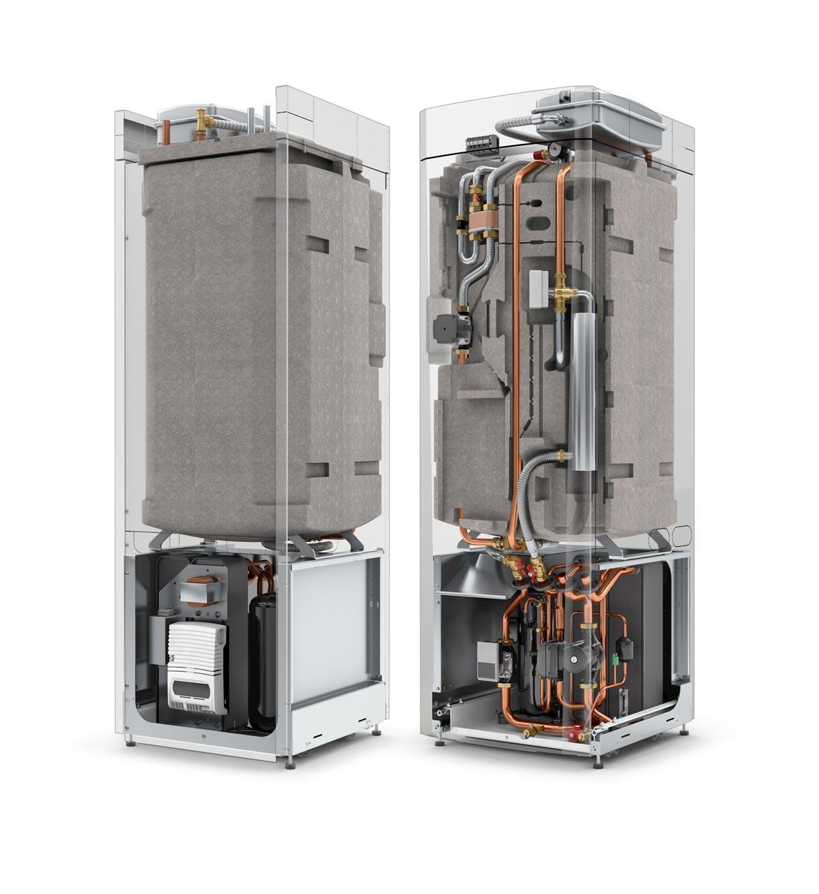 MGH GSI Sole/Wasser innen aufgestellt. Schnittmodel Wärmepumpe mit Frischwasserstation