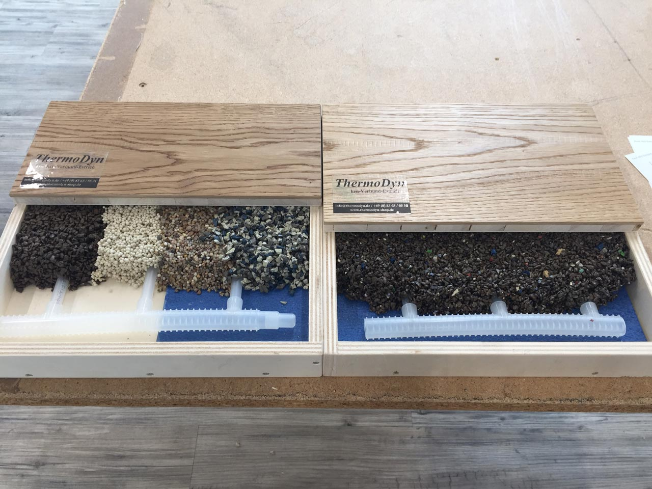 Flächenheizungen nur mit den Tichelmann Elementen aus recyclingbarem Polypropylen aus dem Hause www.egger.ag
