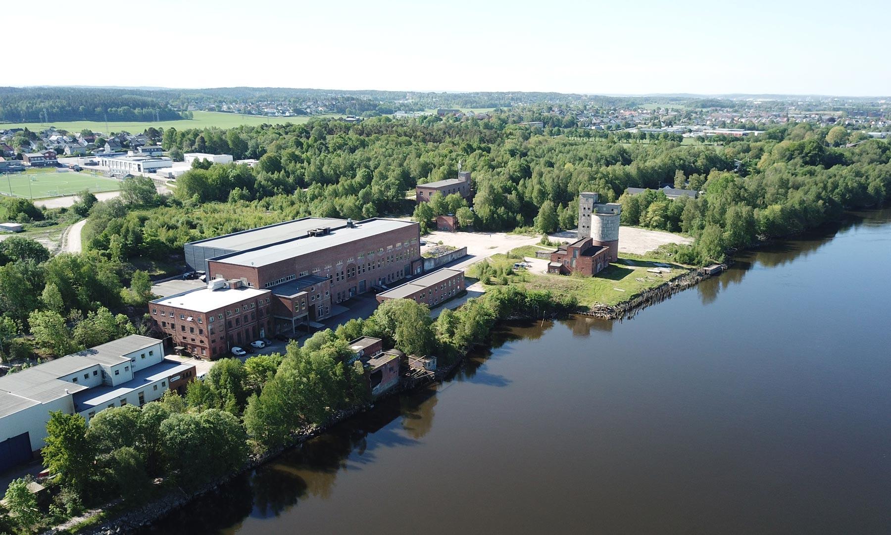 Dronebilde av Torp Bruk i Fredrikstad