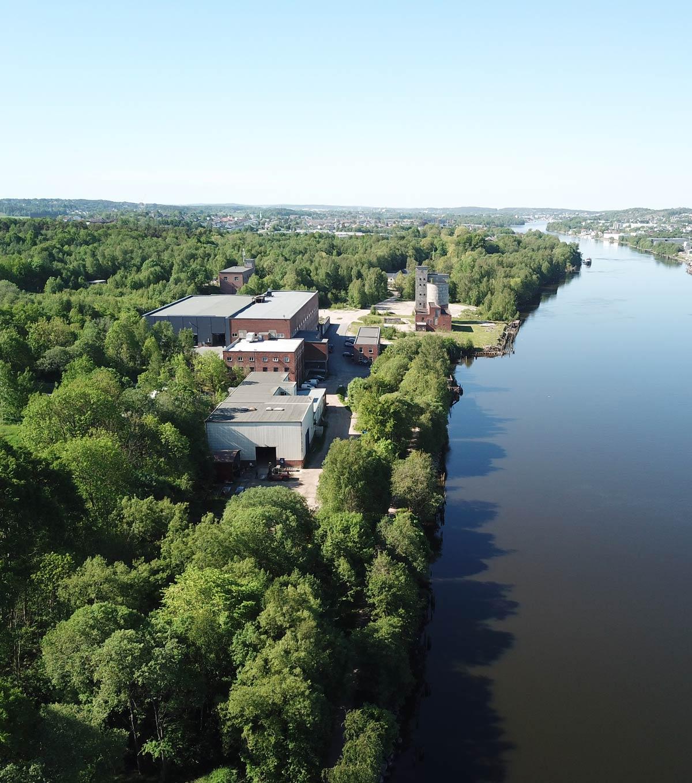 Dronebilde av Torp Bruk i Fredrikstad fra en annen vinkel