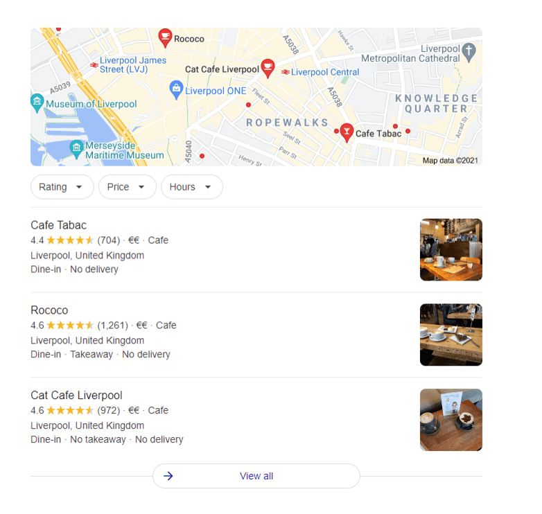 Google map location for cafe liverpool