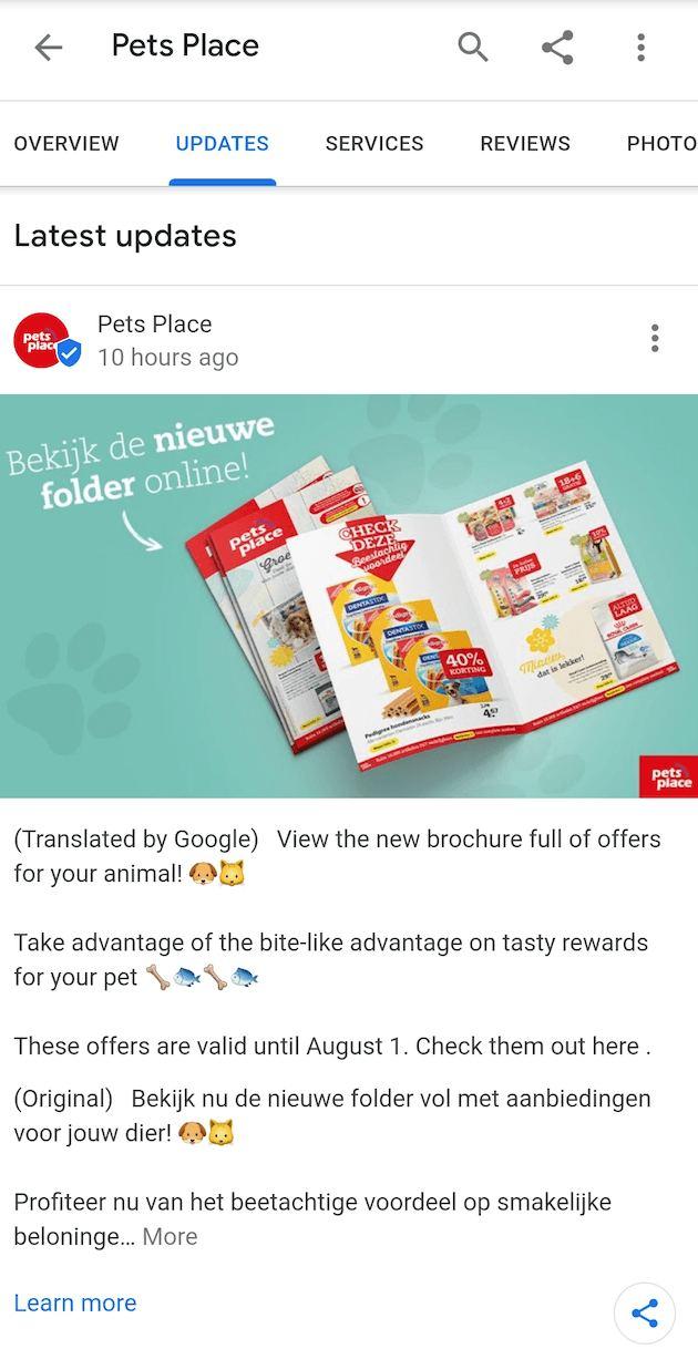 The updates in app