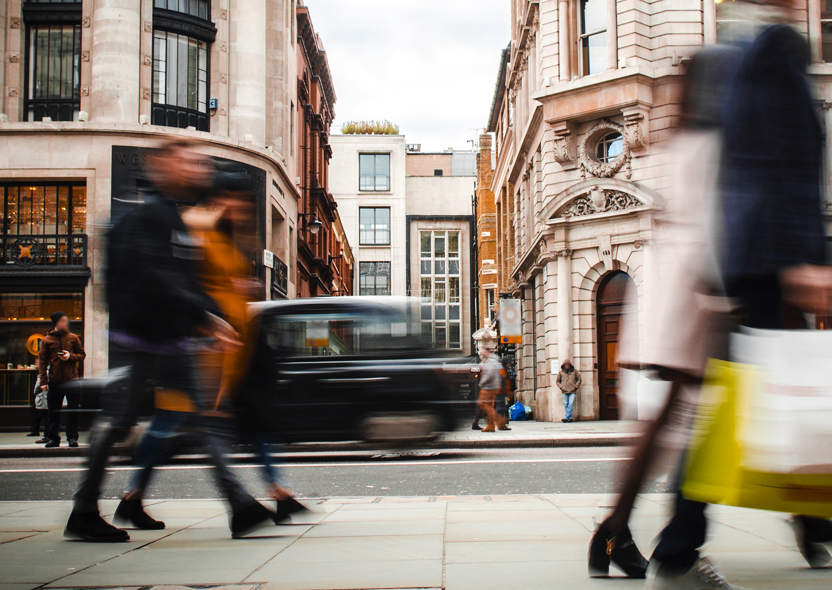 Consumers on a busy high street