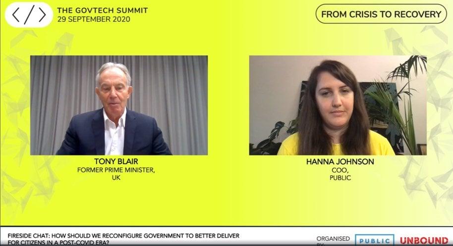 Screenshot of Tony Blair interview
