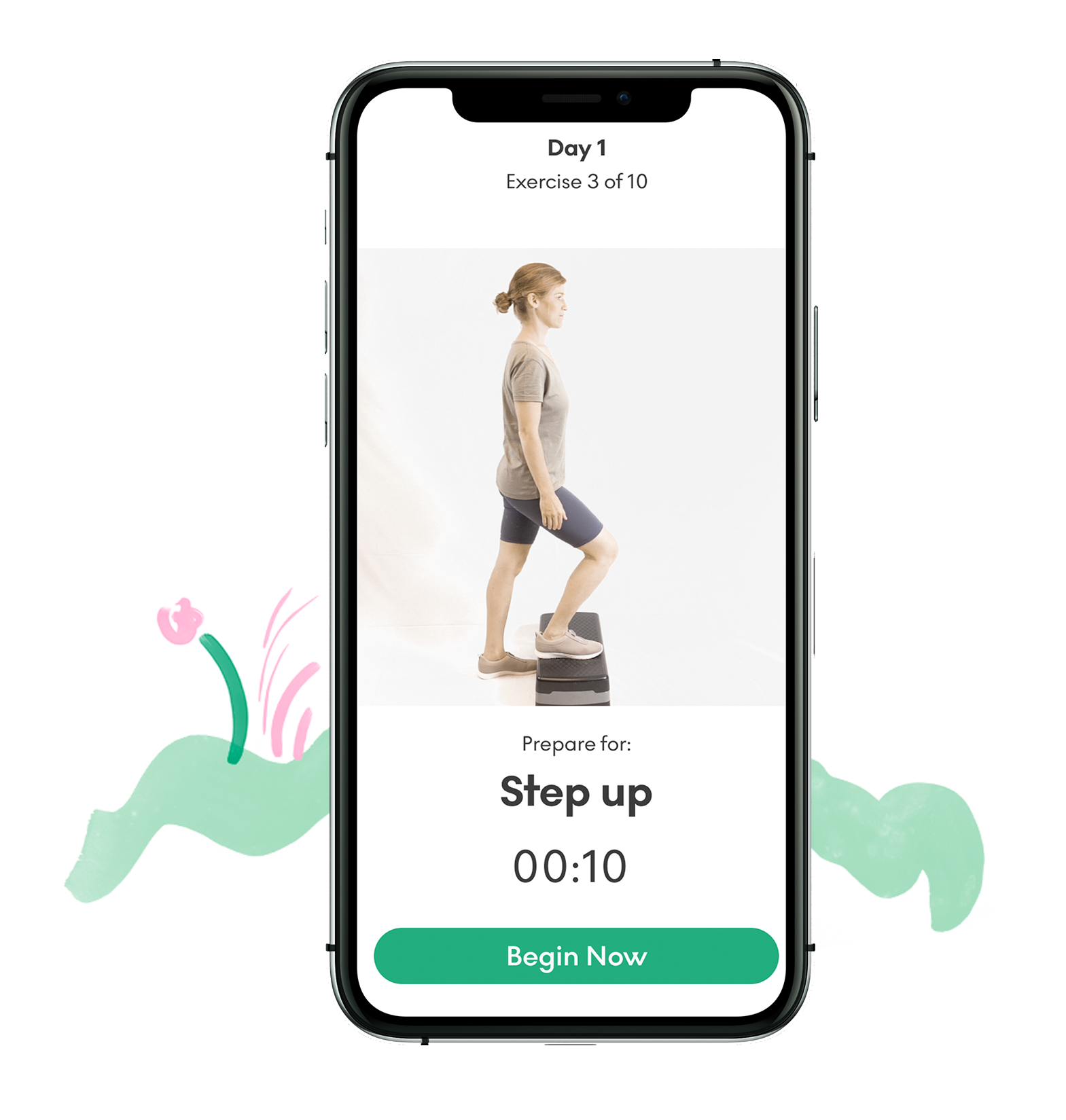 A phone screen showing how to exercise