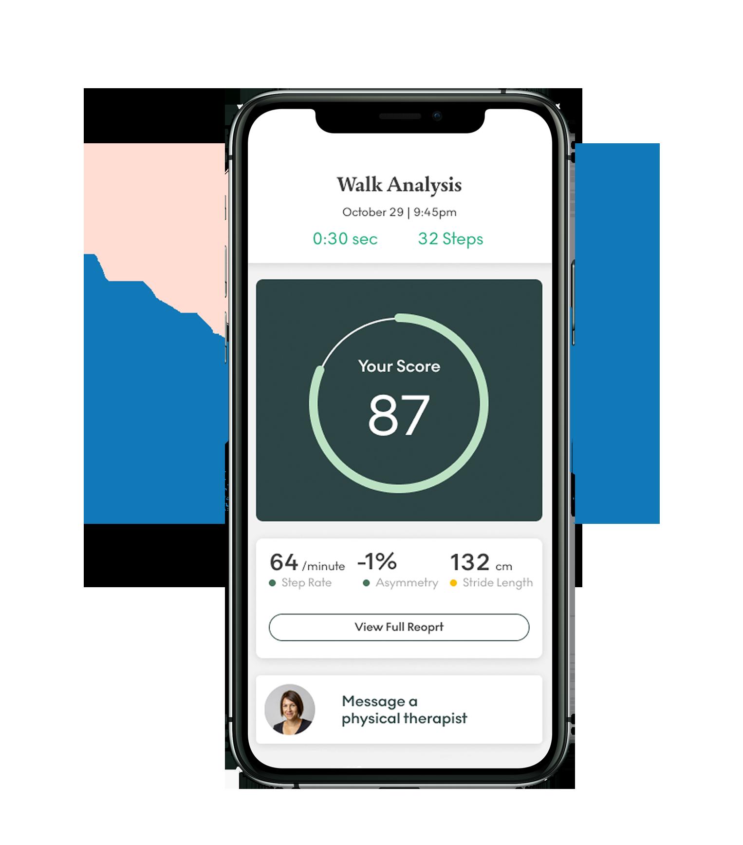A phone screen showing your walk score