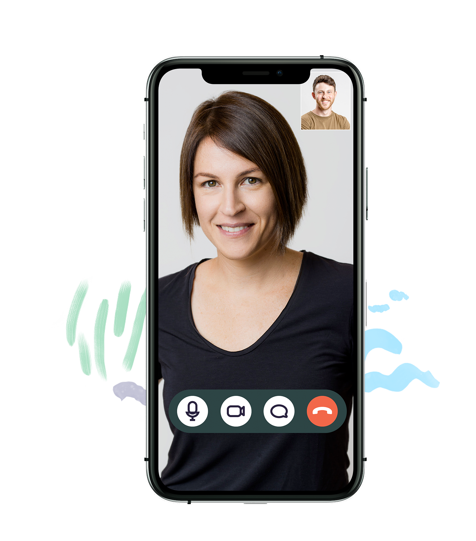 A phone screen showing a video chat with your PT