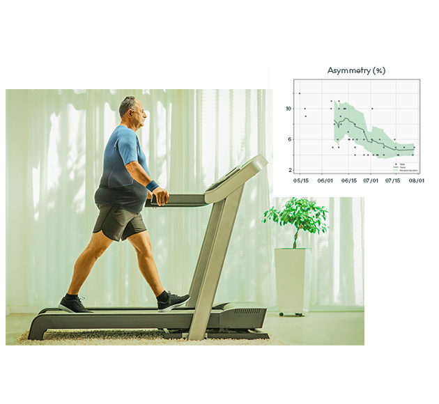 person walking on a treadmill with gait analysis in the background