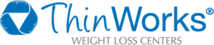The blue and white thinworks logo.