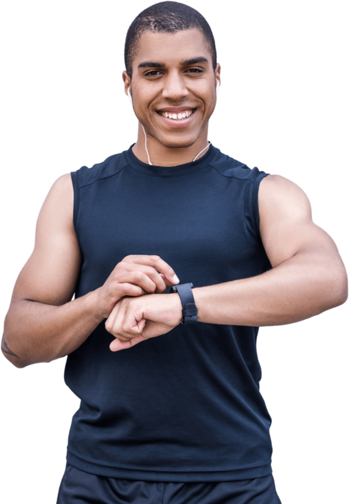 A smiling man fidgeting with his watch.