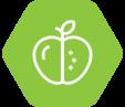 A green hexagon with an apple.