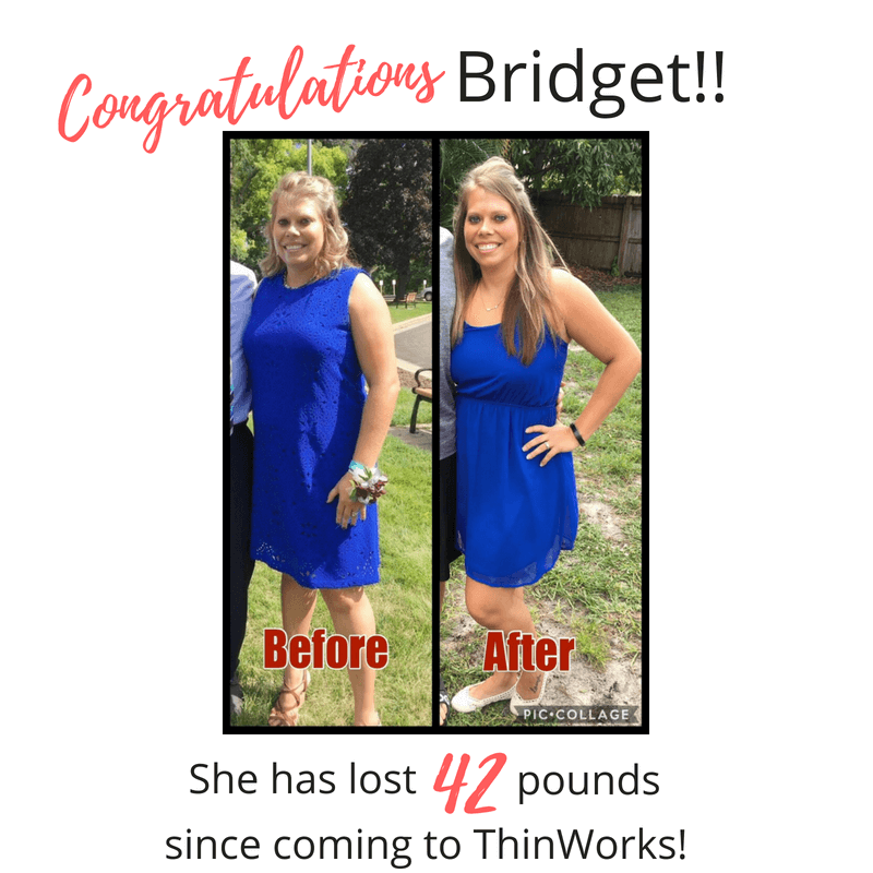 Bridget's amazing weight loss before and after photo.