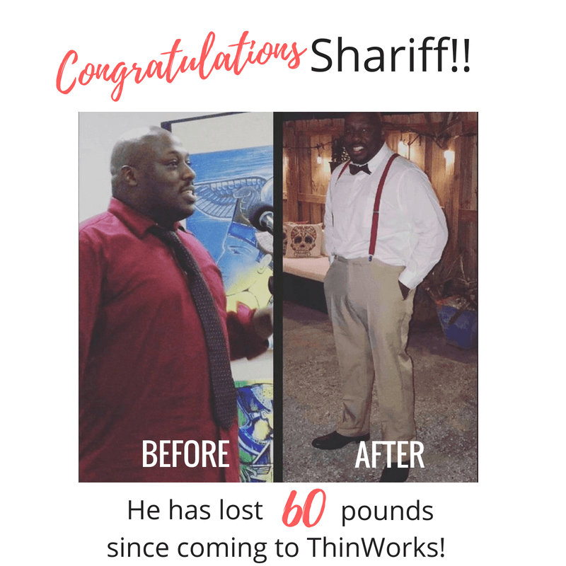 Shariff lost 60 pounds following ThinWorks weight loss plans.
