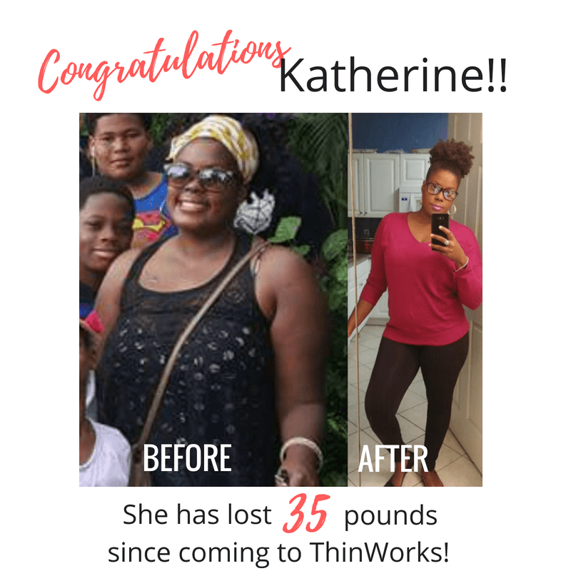 Katherine lost a whopping 35 pounds in this before and after since joining ThinWorks.