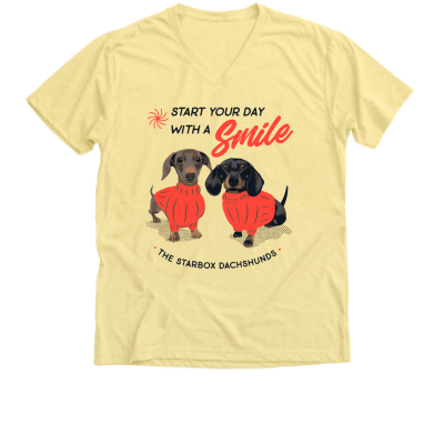 Start your day with a Smile Moonpie Starbox merch, a banana cream yellow V-Neck Unisex Tee