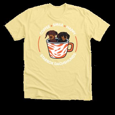Coffee + Smile = Happy Moonpie Starbox merch, a banana yellow Premium Unisex Tee