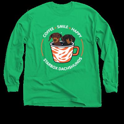 Coffee + Smile = Happy Moonpie Starbox merch, an Irish green Classic Long Sleeve Tee