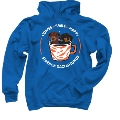 Coffee + Smile = Happy Moonpie Starbox merch, a royal blue Pullover Hoodie