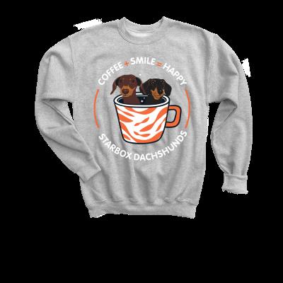 Coffee + Smile = Happy Moonpie Starbox merch, a sport grey Youth Crewneck Sweatshirt
