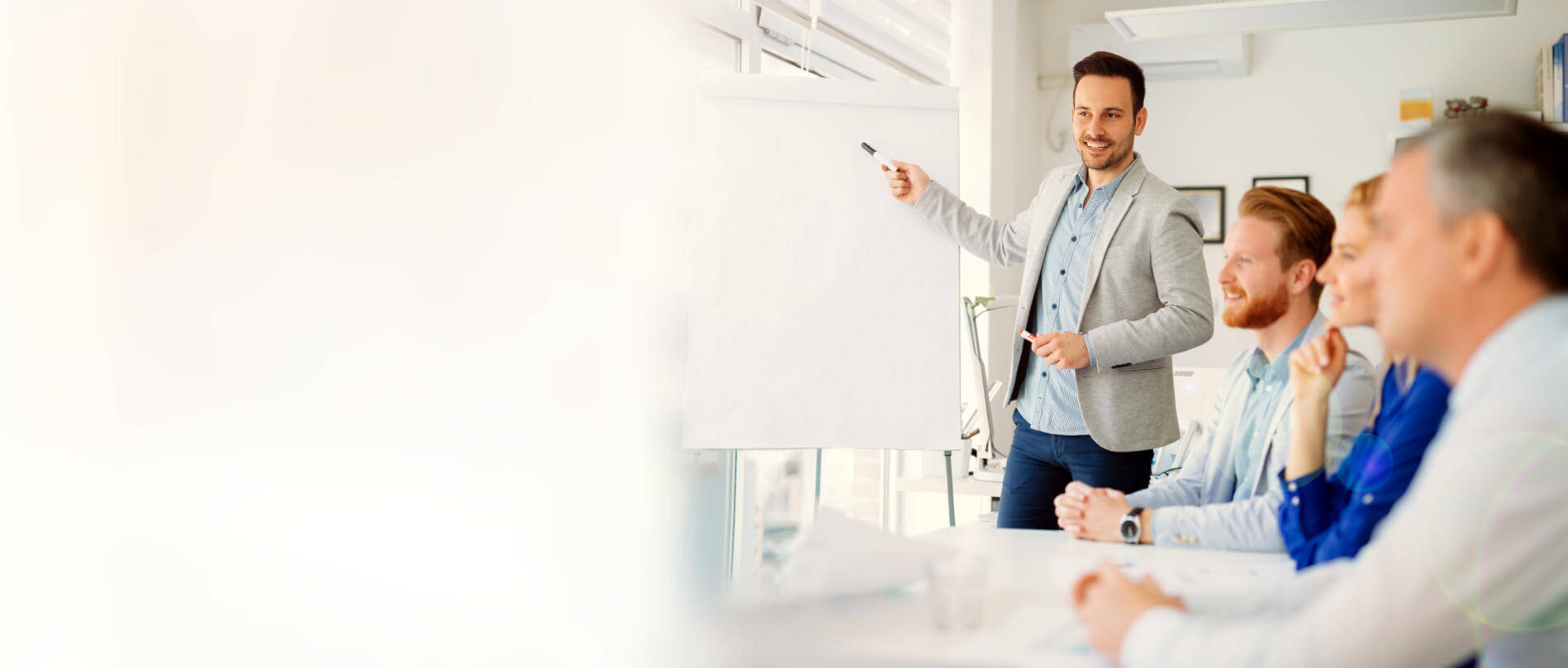 Man giving presentation to group