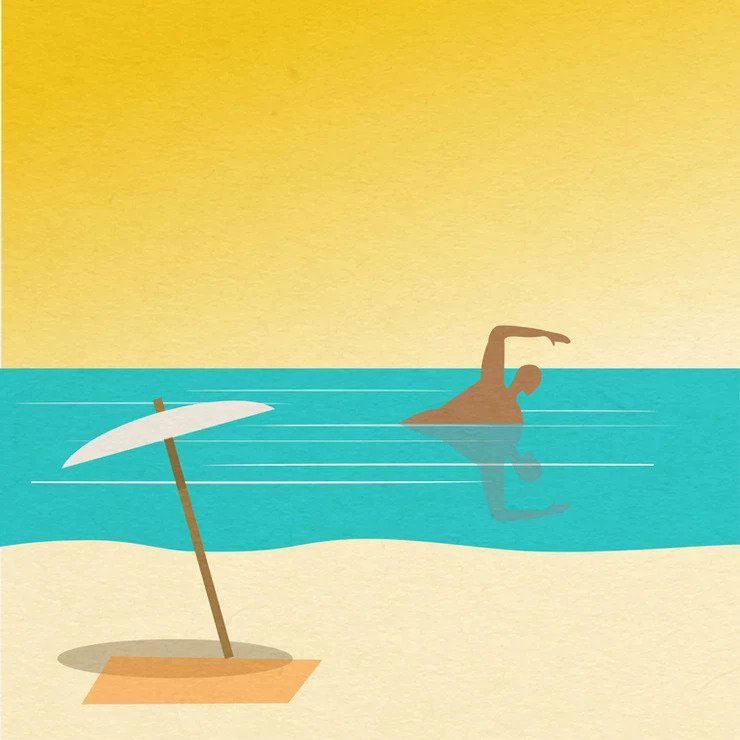 Illustration of person swimming in ocean