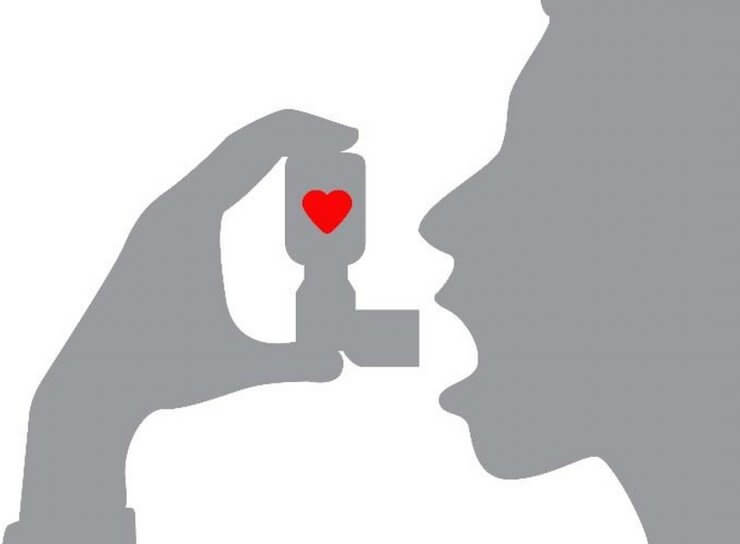 Silhouette illustration of person with an asthma inhaler