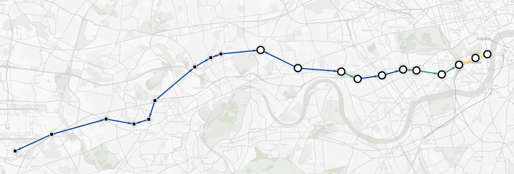 Data visualization - shortest route from Heathrow to Westminster