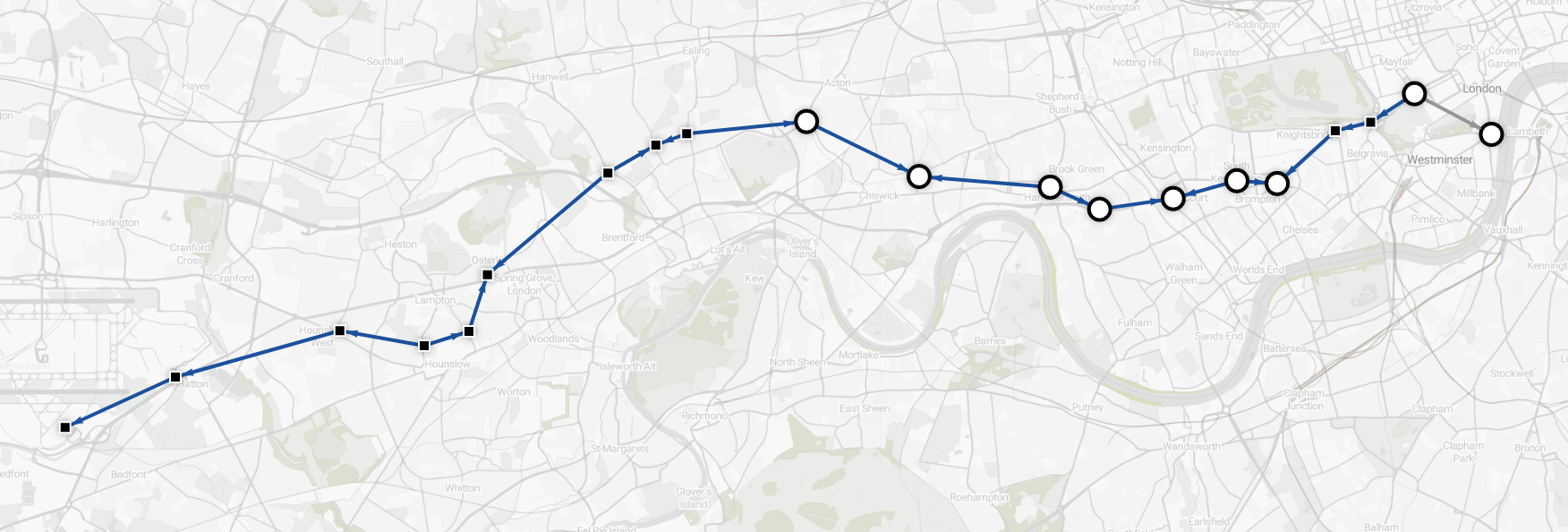 Data visualization - shortest route from Heathrow to Westminster (Circle and District lines excluded)