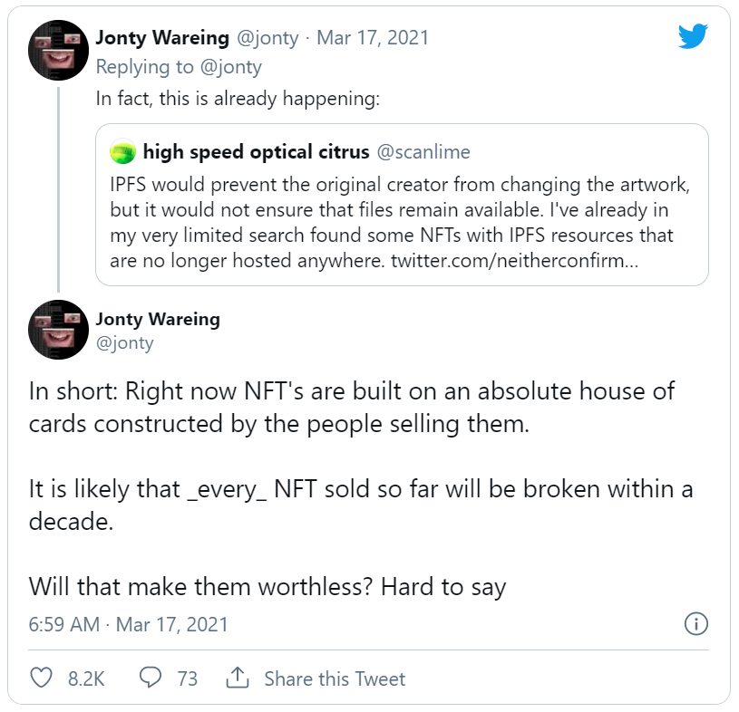Some are warning that the current NFT standard is flawed because NFTs don't typically contain the actual art they refer, but rather include a pointer to a location where that art lives on the Internet. (It is expensive to store data on the blockchai…