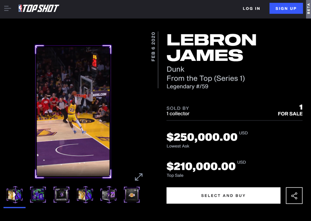A collectible dunk from Lebron James is up for sale on the NBA's Top Shot marketplace. Source: NBA Top Shot website