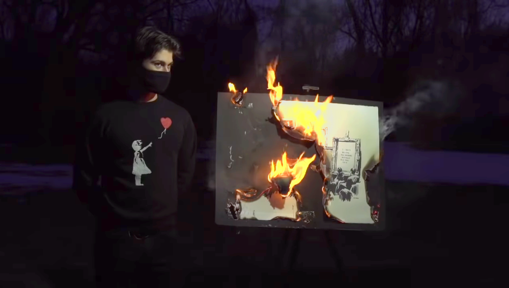 This authentic print by Banksy turned out to go up in value after the physical art was burned and replaced by an NFT of a digital copy. Source: YouTube
