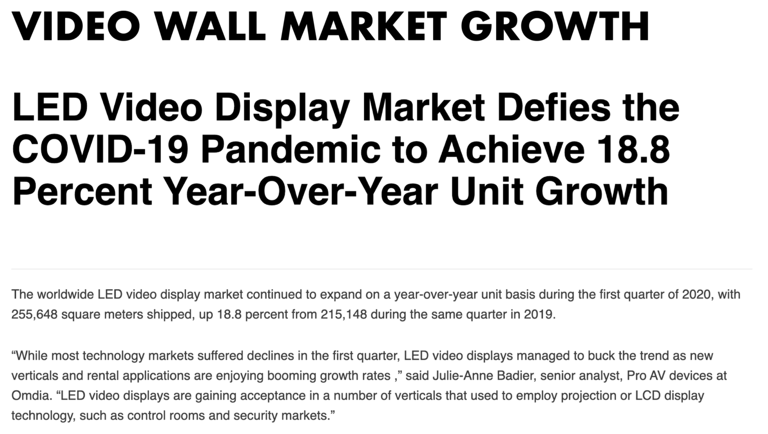 Figure 17: Display Daily Market report highlighting video wall market growth during COVID pandemic [38]