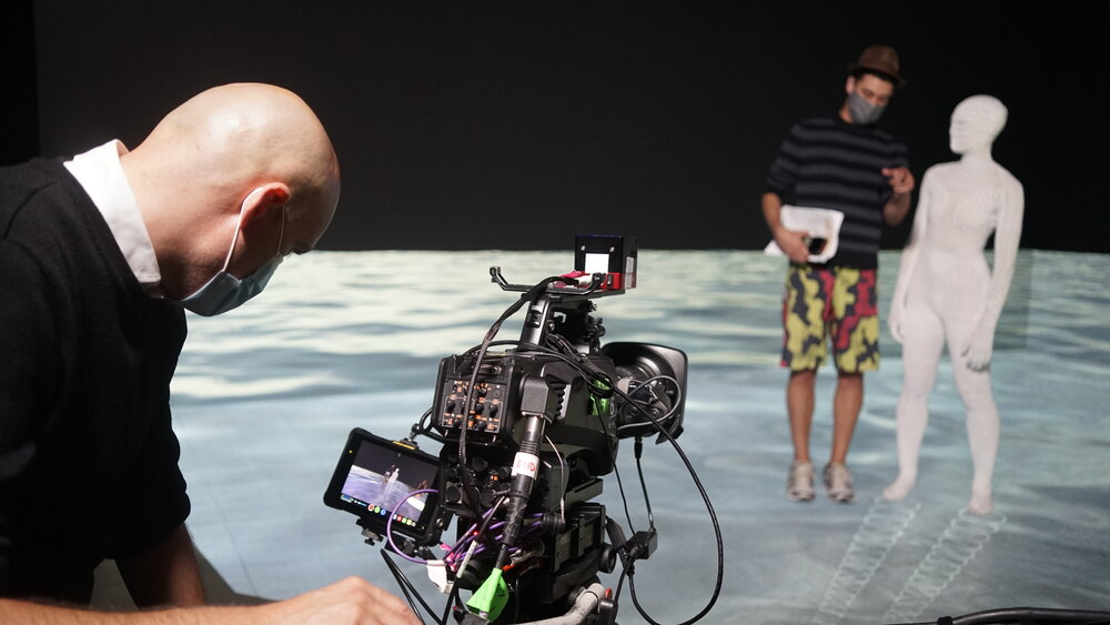 Shooting on xRStage-SF, a space for virtual production with two LED video walls and an LED floor operated by WorldStage and Intrepid Studios in San Rafael, CA. Image courtesy of WorldStage Inc.