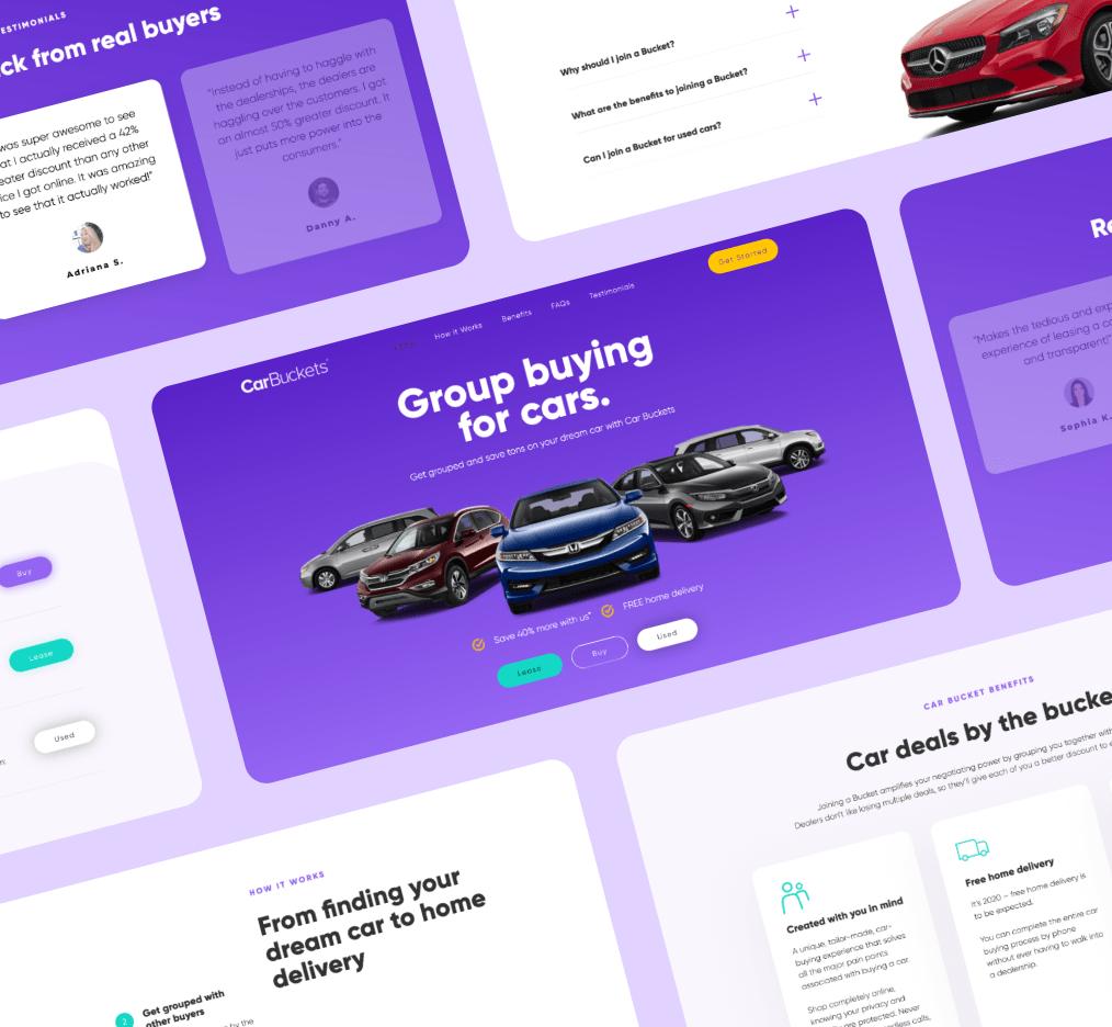 Car Buckets website mockup