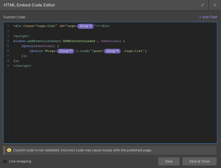 Nested Collection in Webflow - jQuery .load() function code snipped example.
