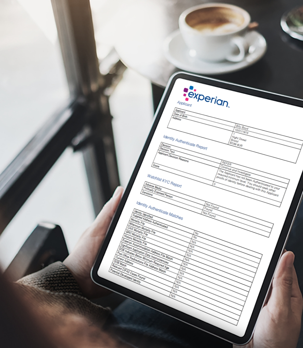 Experian Form Screenshot on a. Mobile Device