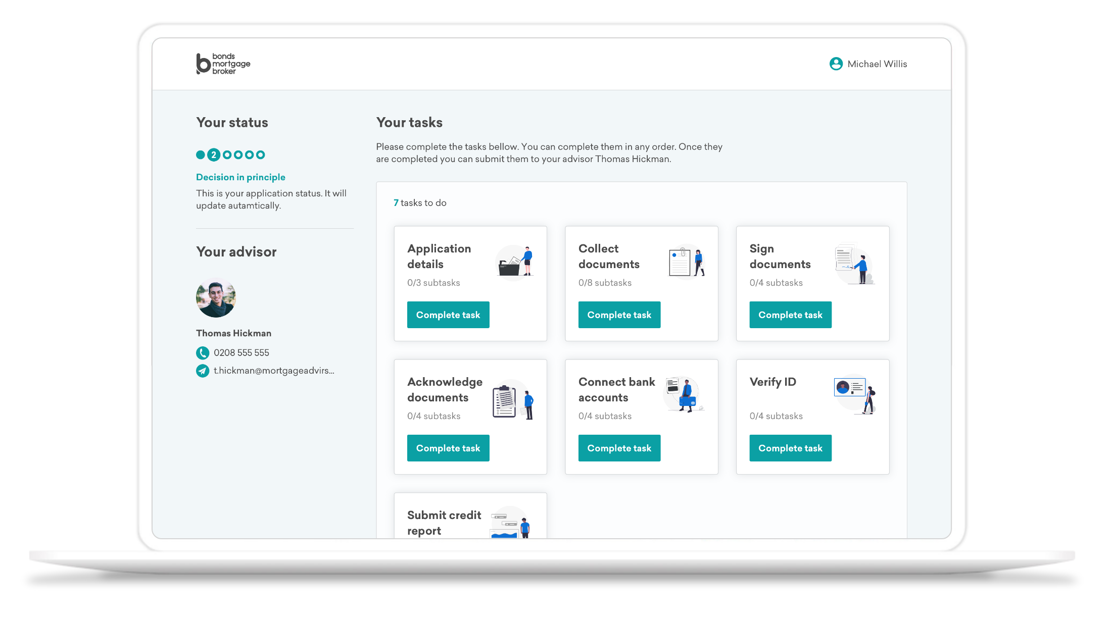 finova Client Portal Screenshot on Laptop