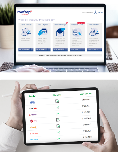 finova Broker Portal and Research Tools Screens on devices