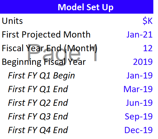 The Financial Model setup page