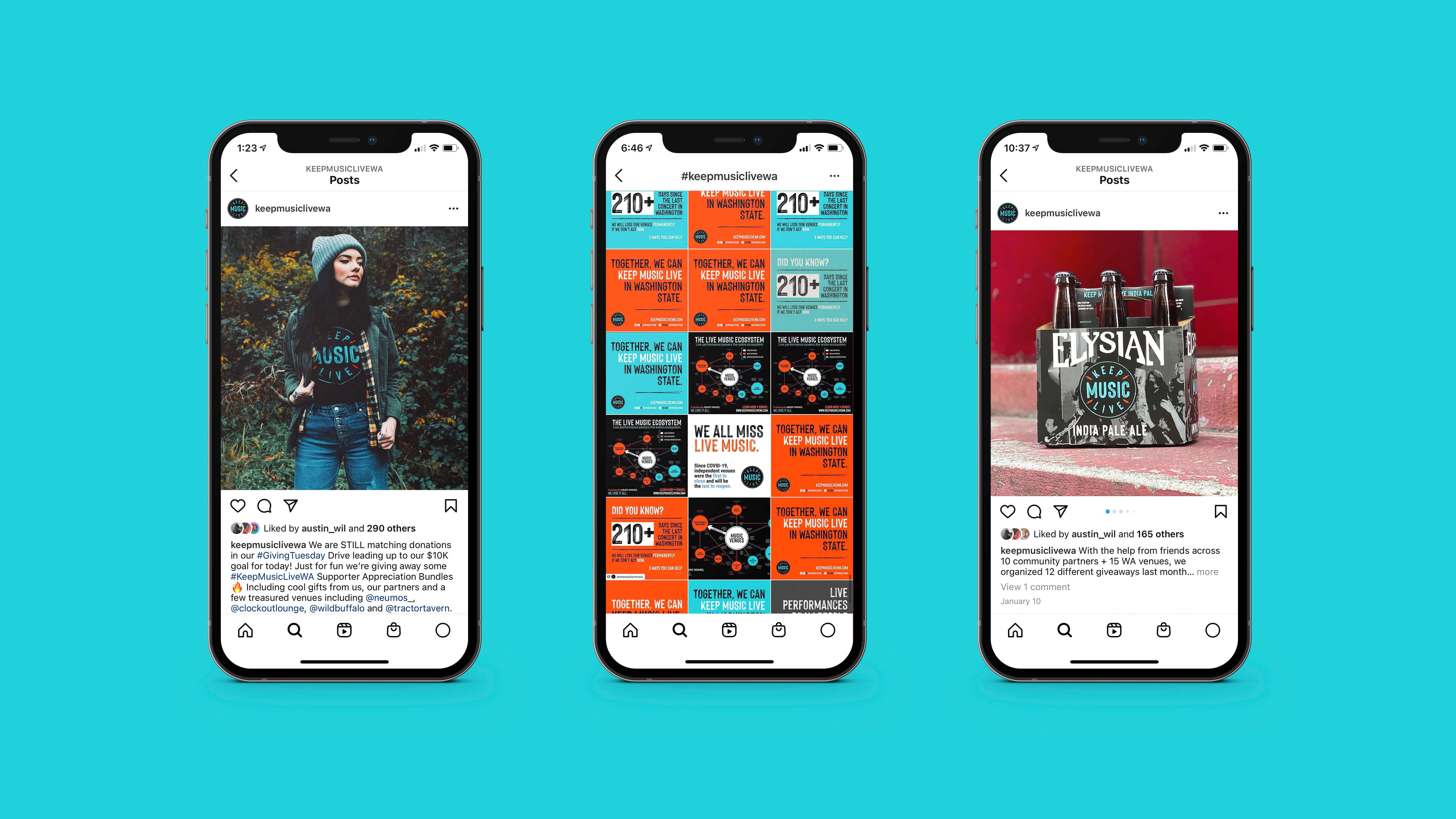 """A series of mobile phone screenshots featuring Instagram posts from the account """"@keepmusiclivewa"""" and the hashtag #keepmusiclivewa."""