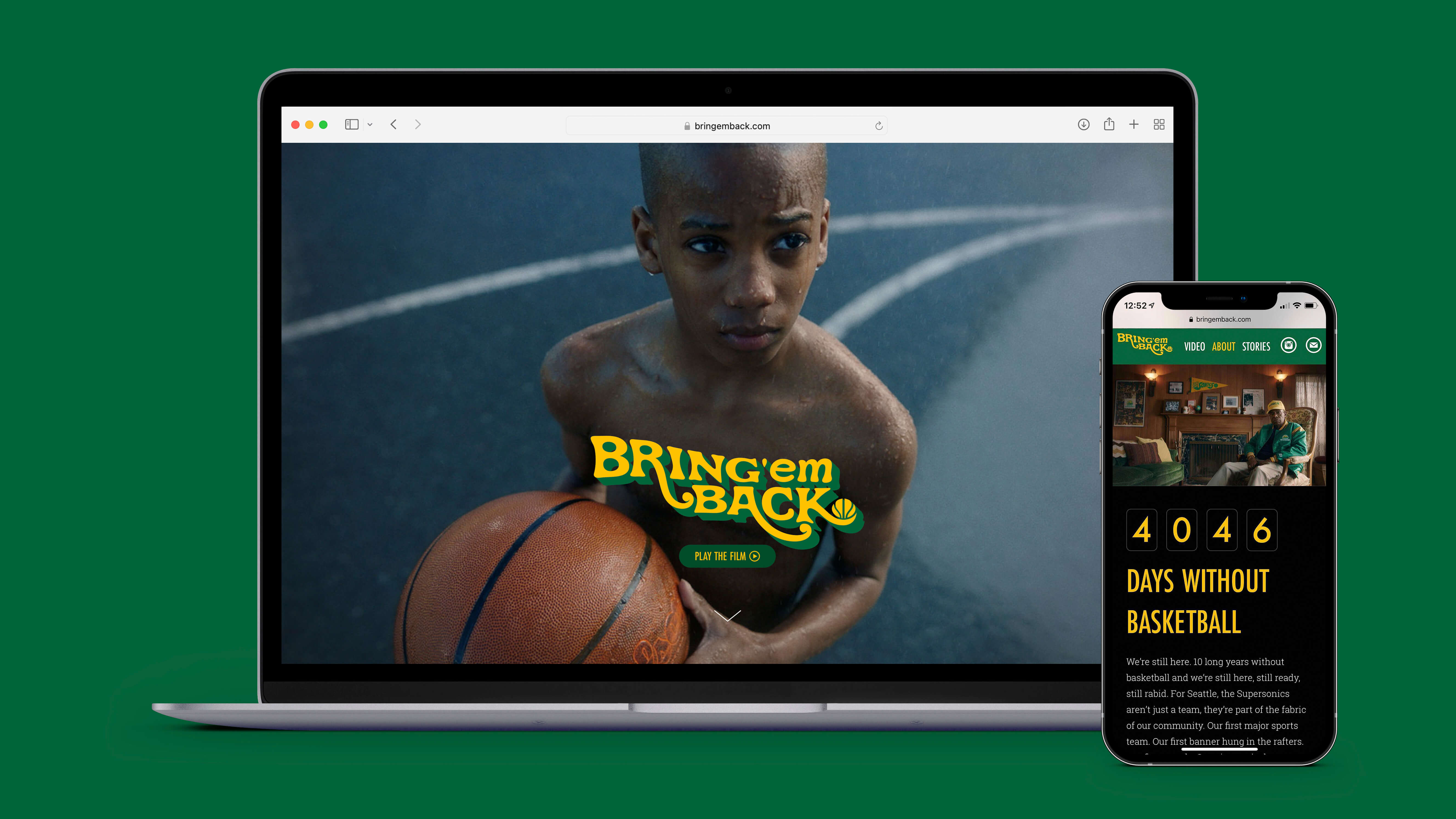 """A laptop screen and mobile phone feature a website designed to showcase a video for the """"Bring 'em Back"""" brand. A prominent headline reads """"4046 days without basketball"""""""