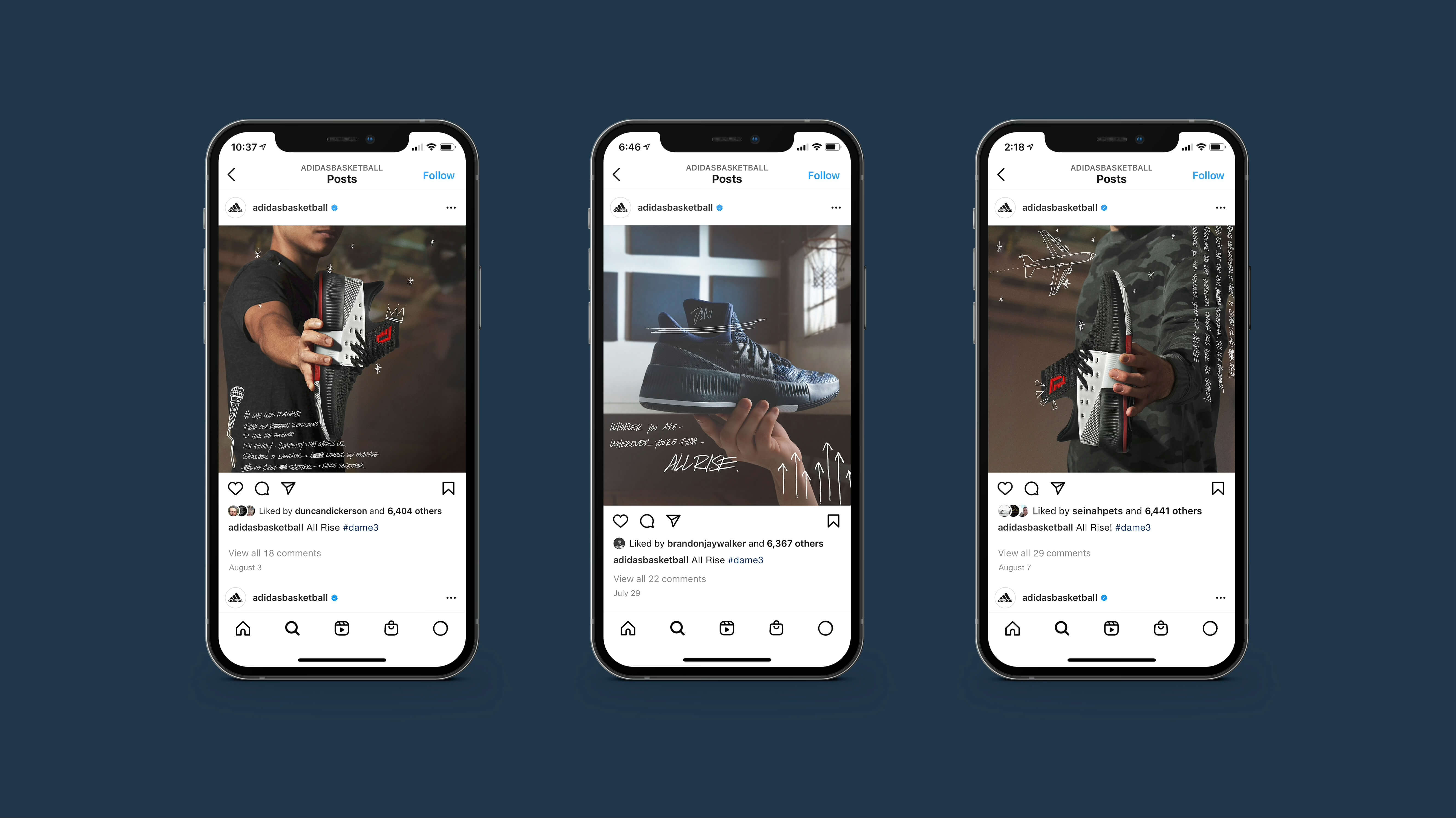 """A series of mobile phone screenshots featuring Instagram posts from the account """"@adidasbasketball"""" featuring shoes held in the hands of various athletes."""