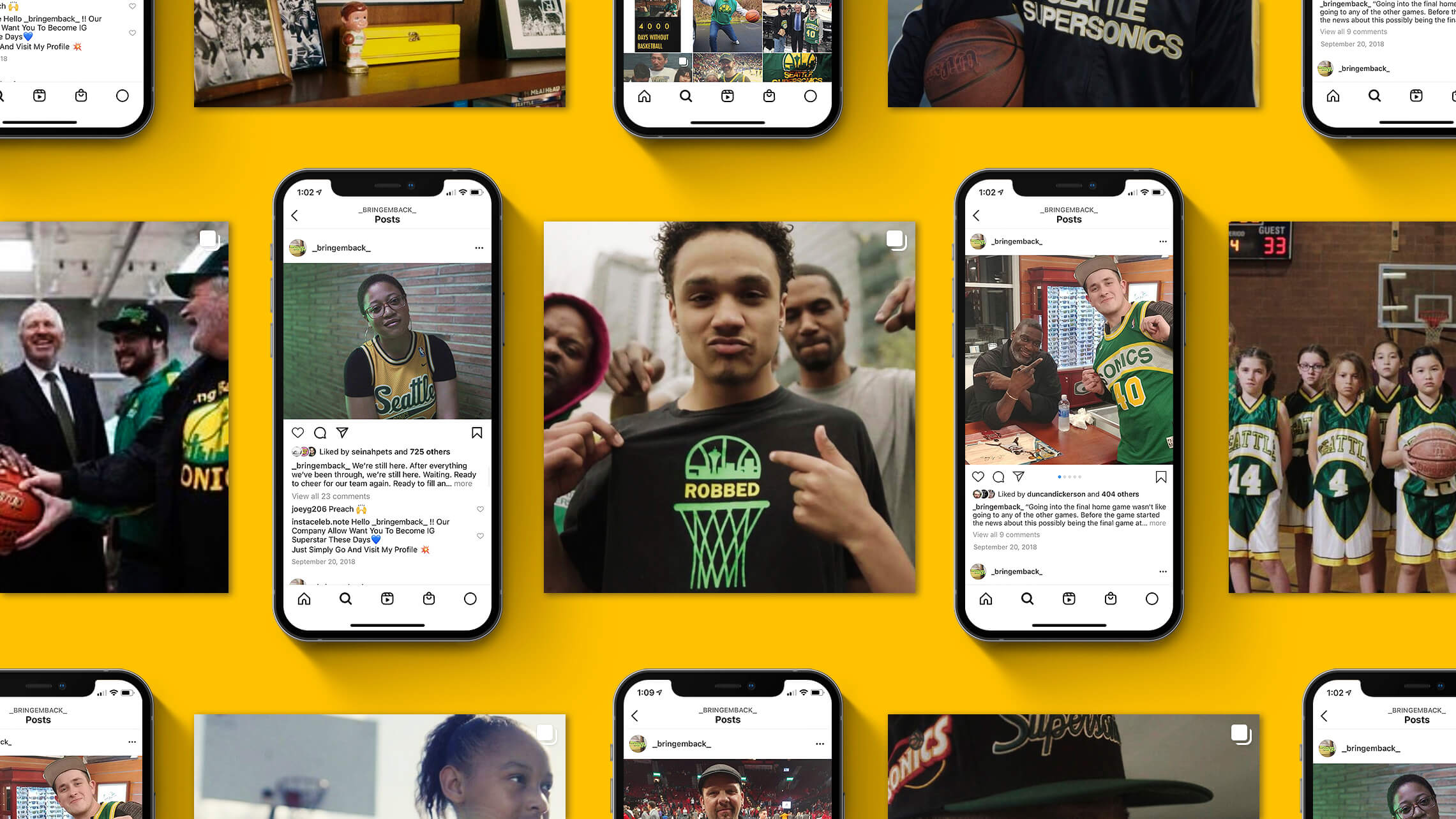 """A series of mobile phone screenshots featuring Instagram posts from the account """"@_bringemback_"""". A variety of photos show celebratory fans wearing Sonics jerseys."""