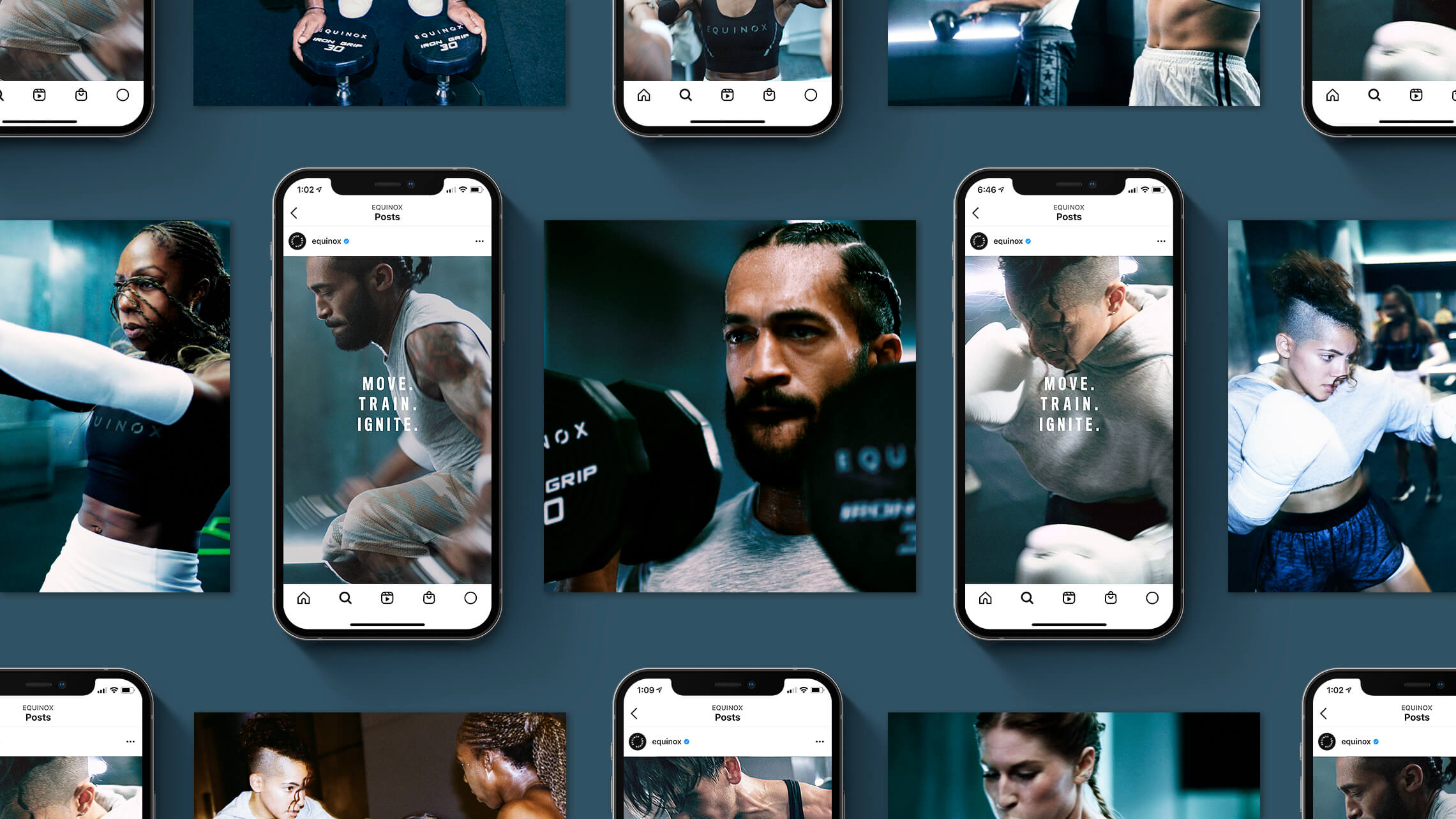 """A series of mobile phone screenshots featuring Instagram posts from the account """"@equinox"""". Images of various athletes are featured with the words """"Move. Train. Ignite"""" superimposed over them."""