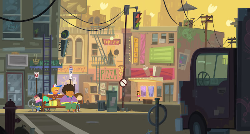 Animated characters sitting on a city bench