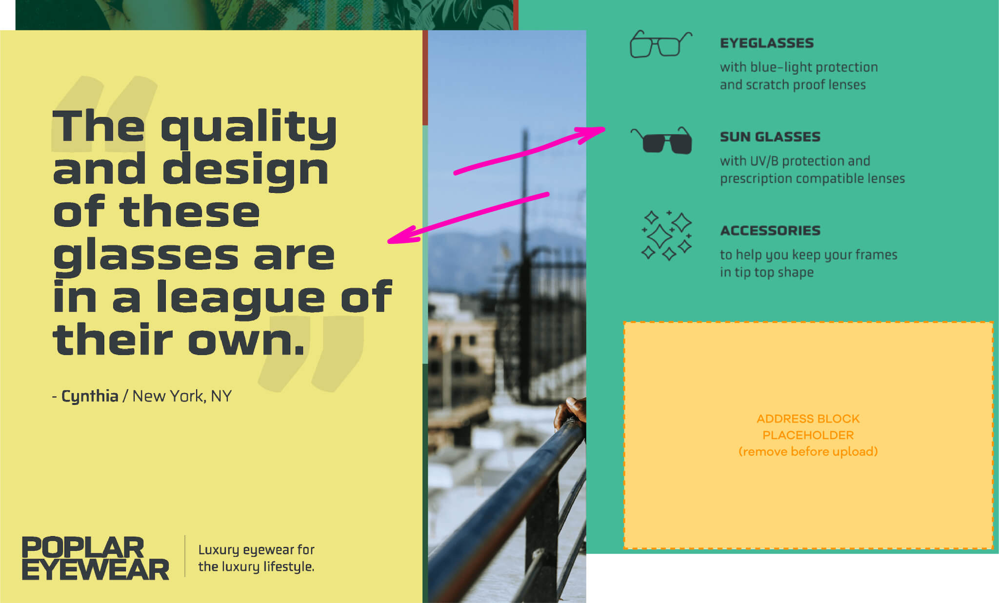 clean direct mail postcard layout