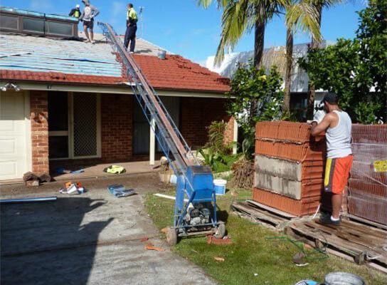 Employee working on roof
