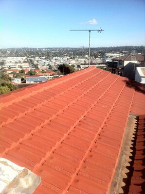 Completed brick roof